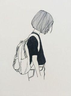 Drawing art girl doodles Ideas is part of pencil-drawings - pencil-drawings Pencil Art Drawings, Art Drawings Sketches, Easy Drawings, Drawing Art, Tumblr Art Drawings, Aesthetic Drawing, Aesthetic Art, Art Journal Inspiration, Art Inspo
