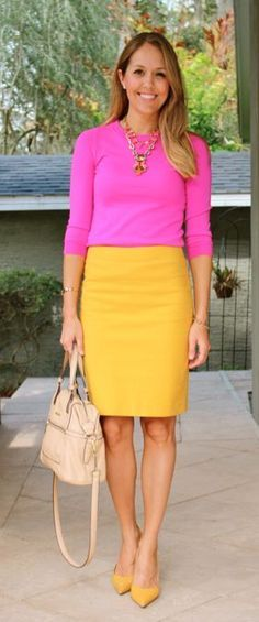 Yellow pairing - Yellow skirt and pink top / Jupe jaune et top rose Office Outfits, Casual Outfits, Cute Outfits, Js Everyday Fashion, Everyday Outfits, Spring Work Outfits, Colourful Outfits, Yellow Outfits, Professional Attire