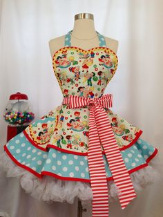 Plus Size Candy Shop PInUp Apron /Retro Apron / Womans Apron/ Rockabilly / Style Sandro, Old Fashioned Candy, Bodice Top, Retro Apron, Candy Shop, Candy Stores, Bubblegum Pink, Polka Dot Print, Shades Of Red