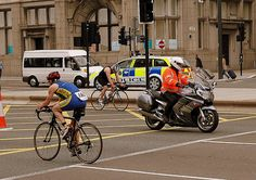 Triathlon on the Strand Liverpool, I think the guy on the motorbike may be cheating
