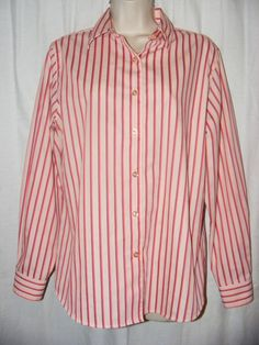 Foxcroft Wrinkle Free Shaped Fit Pink Striped Button Front Career Shirt Top 10 #Foxcroft #ButtonDownShirt #Casual
