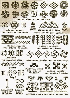 Symbols and signs from latvian folk lore mythology note the swastika fire cross has been corrupted do not use