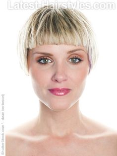 Short blunt bangs with short cropped hair .  thinking about this cut!