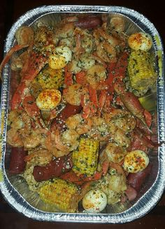 Do your usual crab boil. I start with potatoes first, remove them when tender, add corn, sausage crablegs in pot together bring back to a [. Seafood Boil Party, Seafood Boil Recipes, Seafood Dishes, Cajun Seafood Boil, Seafood Broil, Shrimp And Crab Boil, Crab Dishes, Seafood Bake, Food Porn