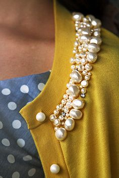 sew pearls and rhinestones on a cardigan to spice it up
