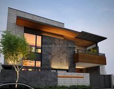 49 Digvijay Nagar - Jodhpur on Behance Modern Exterior House Designs, Modern House Facades, Modern Villa Design, Dream House Exterior, Bungalow House Design, House Front Design, Facade Design, Architecture Design, Home Building Design