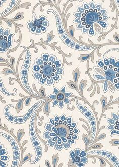Baville by Nina Campbell - Blue/ Taupe - Wallpaper : Wallpaper Direct Textile Pattern Design, Batik Pattern, Textile Patterns, Textile Prints, Pattern Art, Print Patterns, Nina Campbell, Indian Prints, Indian Textiles