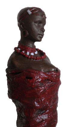 Powertex Sculpture African Masaï Agnes