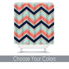 Chevron SHOWER CURTAIN Custom MONOGRAM Personalized Chevron Bathroom Decor Coral Navy Aqua Colors Beach Towel Plush Bath from TRM Design. Saved to Shower.