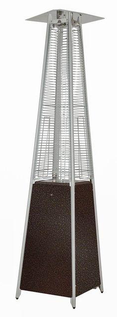 Hiland Pyramid Patio Propane Heater w/Wheels, 87 Inches, Hammered Bronze Patio Heater, Bronze Finish, Outdoor Gardens, Tube, Quartz, Costco, Amazon, Glass, Wheels