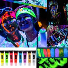 Accessories 8 Colors Body Face Painting Halloween Party Fluorescent Rave Festival Make-Up Festival Paint, Rave Festival, Festival Style, Festival Fashion, Uv Face Paint, Dark Bohemian, Halloween Festival, Facial, Fashion Painting