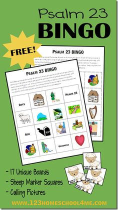 Psalm 23 Bible Bingo Game - This bible activity is perfect for families, homeschool bible, or sunday school teachers studying David or the book of Psalms. This free printable games includes 17 game boards, lamb markers, and calling cards. Perfect for preschool, kindergarten, 1st grade, 2nd grade, and 3rd grade kids.