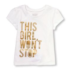 Toddler Girls Short Sleeve 'This Girl Won't Stop' Glitter Graphic Tee | The Children's Place