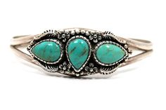 Tear drop Turquoise Bracelet Sterling Silver   by WarrenExchange, $200.00