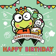 #HappyBirthday #Keroppi ♪(*^^)o∀*∀o(^^*)♪ 07/10 Keroppi Wallpaper, Kawaii Wallpaper, Birthday Cards, Happy Birthday, Pochacco, Apple Watch Faces, Social Projects, Favorite Cartoon Character, Frog And Toad