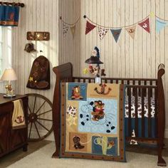 western/cowboy bedding | Western Cowboy Themed Brown Horses and Bears Baby Boys 6pc Nursery ...