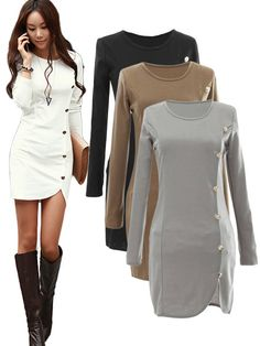 Buttons Design Long Sleeve Round Collar Solid Colour Pullover Dress