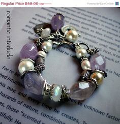 chunky bracelet charm bracelet amethyst bracelet by molliecarey