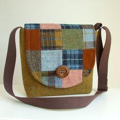 Harris Tweed Patchwork Messenger bag from Pesky Cat Designs on Etsy.