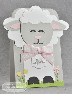 Sweet Little Lamb by atsamom - Cards and Paper Crafts at Splitcoaststampers Baby Cards, Kids Cards, Diy Arts And Crafts, Paper Crafts, Paper Punch Art, Paper Box Template, Baby Shower Party Favors, Animal Cards, Craft Fairs