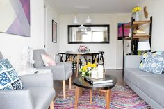 Living Pequeños, Sofa, Couch, Geometric Rug, Room Inspiration, Ideas Para, My House, Sweet Home, Gallery Wall