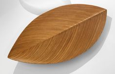 """TAPIO WIRKKALA A SUPERB """"LEAF"""" PLATTER incised TW laminated birch and plywood 1 x 19 1/8 x 9 3/4 in. (2.5 x 48.6 x 24.8 cm) 1950-1954"""