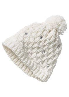 Pletená čepice se štrasovými kamínky