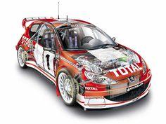 Peugeot 206 WRC rally car - cutaway
