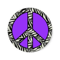 zebra striped peace signs | Zebra Print Peace Sign Sticker