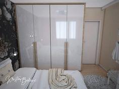 Návrh interiéru bytu Romantika v akcii, pohľad na posteľ a šatníkovú skriňu v spálni Oversized Mirror, Divider, Curtains, Furniture, Home Decor, Nostalgia, Blinds, Decoration Home, Room Decor