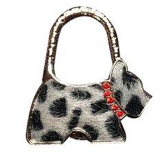 YOKIRIN Licht Grau Hund mit Rote Strass RZinklegierung Dekorative Taschenhaken & Handtaschenhalter als perfekte Geschenkidee für Frau, Freundin, Mutter und Tochte