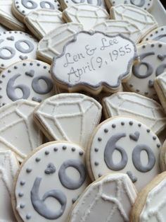 wedding anniversary cookies Best Picture For DIY Anniversary For Your Taste You are looking for something, and it is going to tell you exactly what you are looking for, and you d Diamond Anniversary Cake, 60th Anniversary Parties, Anniversary Party Decorations, Wedding Anniversary Invitations, Parents Anniversary, Anniversary Quotes, Wedding Favors, Anniversary Ideas, 50th Anniversary Cookies