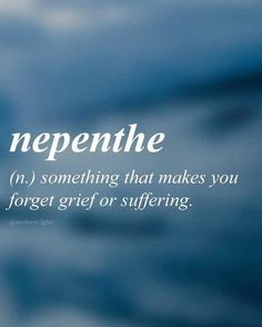 nepenthe (n.) something that makes you forget grief or suffering. English with Greek origin //ni-pen-thee// The Words, Fancy Words, Weird Words, Pretty Words, New Words With Meaning, Dark Words, Unusual Words, Unique Words, Interesting Words