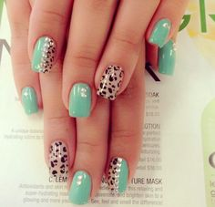 Cute Cheetah Print with Mint Color and Rhinestones Nail Art