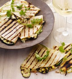Gail Simmons' Grilled Corn & Zucchini Quesadillas with Scallions, Cilantro, and Pepper Jack Cheese #recipe paired with Estancia #Chardonnay