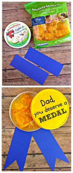 Gold Metal Father's Day Gift for Kids to Make - Paint an empty laughing cow cheese container yellow and fill it with butterscotch candies!