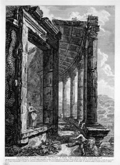 View of the Peristyle and the Door of the Temple of Vesta at Tivoli commonly called the Sybil - Giovanni Battista Piranesi