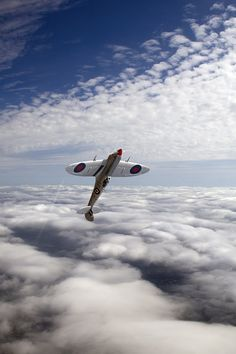 weee! ~ spitfire upside down vertical climb above the clouds