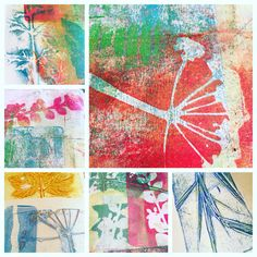 Fun with nature and Gelli plate printing. Simply pick leafs grass and flowers and use them as stencils. By Pia DoodleDiem 2016