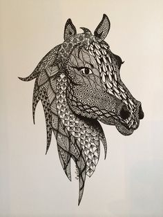 Horse Ink Drawing Zentangle Print by TangledDownSouth on Etsy