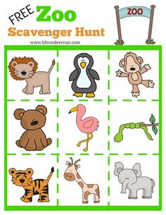 printable zoo scaven