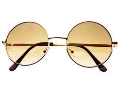 Designer Metal Circle Round Retro Sunglasses Gold Brown R1154