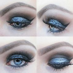 #smokeyeyes #metallic #smokey #eye #eyeliner #eyebrow #lashes metallic eyeshadow by #makeuprevolution eyelashes by #makeupstudio #mascara by #kikomilano #love #makeup #passion