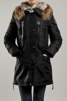 Parajumpers Womens Kodiak Down Jacket With Fur Black