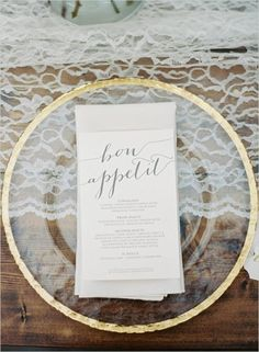 Romantic menu with gold plate charger and lace table runner for vintage or rustic wedding @myweddingdotcom