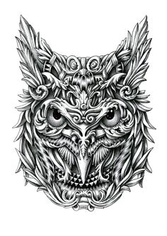 Owl. Ornate Details in Animal Drawings. To see more art and information about Alex Konahin click the image.