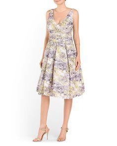 V Neck Printed Taffeta Dress