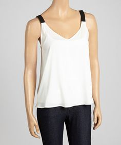 Look what I found on #zulily! Dani Collection Ivory & Black V-Neck Tank by Dani Collection #zulilyfinds
