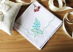 Napkins Embroidery White Napkin Flowers Decor Set of 2 by MsHomeS