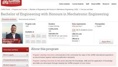Bachelor of Engineering with Honours in Mechatronic Engineering (1426) - Griffith University